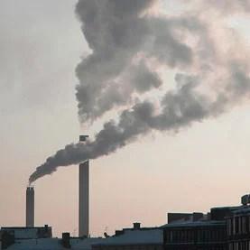 Smoke plume from power plant chimney, Helsinki, Finland