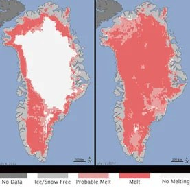 Med fire uker igjen av smeltingssesongen har Grønland opplevd en issmelting som ingen har sett maken til. Kilde:  NASA Goddard Photo and Video