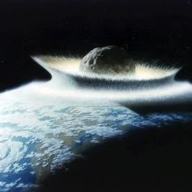 Illustration of asteroid impacting earth