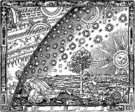 An engraving depicting a man pondering the nature of the universe