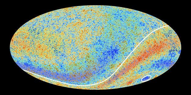 La mappa della radiazione cosmica di fondo dell'esperimento Planck in cui sono state evidenziate le disomogeneità su larga scala (immagine ESA/Planck)