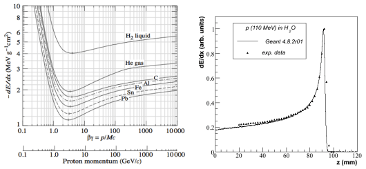 """A sinistra, il rilascio di energia per un protone in diverse sostanze: si vede a sinistra come, per energie più basse, questo aumenti molto (immagine Particle Data Group). A destra, il rilascio di energia di un protone di 110MeV di energia in acqua, in funzione della profondità: si vede a destra il """"picco di Bragg"""", dove la maggior parte dell'energia viene rilasciata, negli ultimi millimetri del cammino del protone (immagine CERN-Geant4)"""