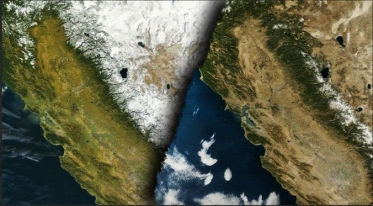 Immagini del satellite che mostrano l'avanzamento dei fenomeni di siccità in California.