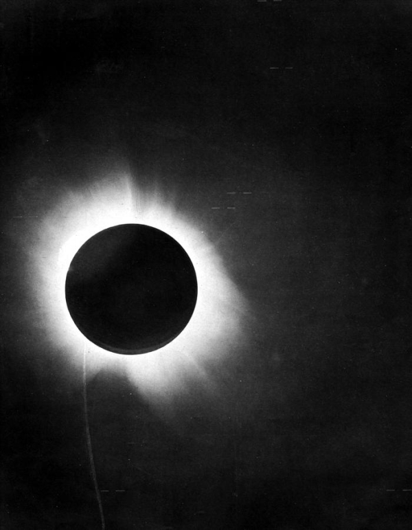 La deflessione della luce osservata da Arthur Eddington durante l'eclisse solare del 1919. Fonte Wikipedia