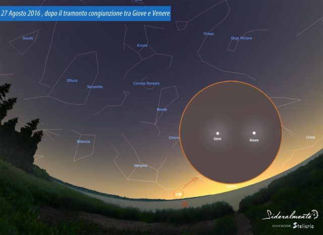Sfida osservativa del mese: il 27 agosto dopo il tramonto, Giove e Venere in congiunzione. Immagine realizzata da Associazione Stellaria