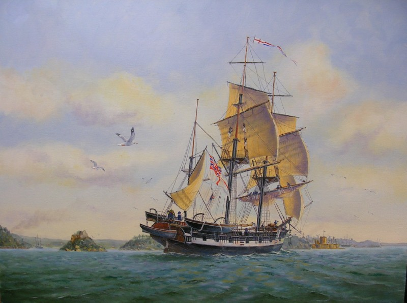 HMS-Beagle-in-Sydney-Harbour-1838