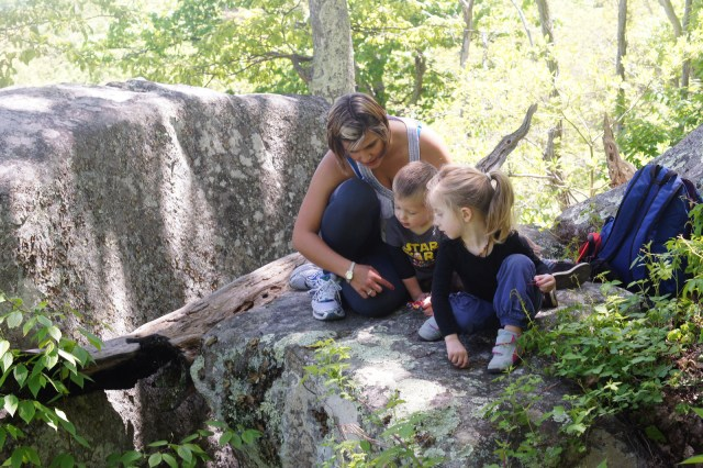 Our au pair spending some nature time with the kids on the Appalachian Trail.