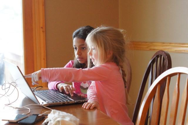 Mackenzie & Nicole working on ABCMouse.com