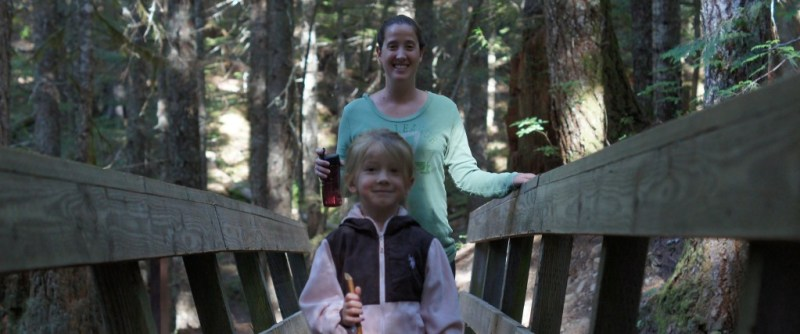 Mommy and our daughter out Hiking the foothills of Mount Hood.