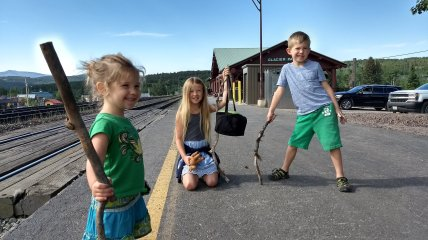 Waiting at East Glacier Park Station to catch our westbound Amtrak train