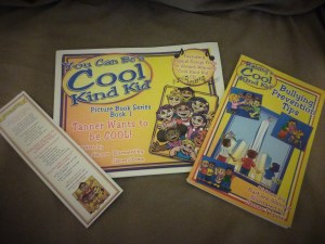 Picture of the covers for You Can Be a Cool Kind Kid, Bullying Prevention Tips and a bookmark.