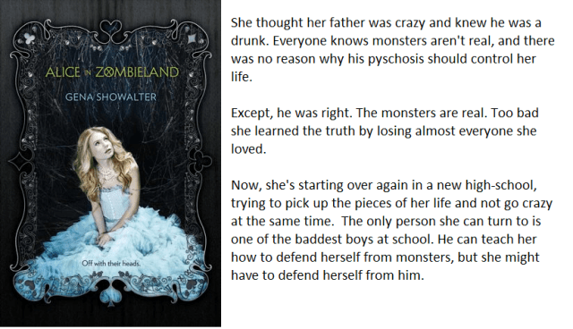 The book cover and synopsis for Alice in Zombieland by Gena Showalter