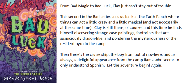 A book cover and synopsis for Bad Luck by Pseudonymous Bosch