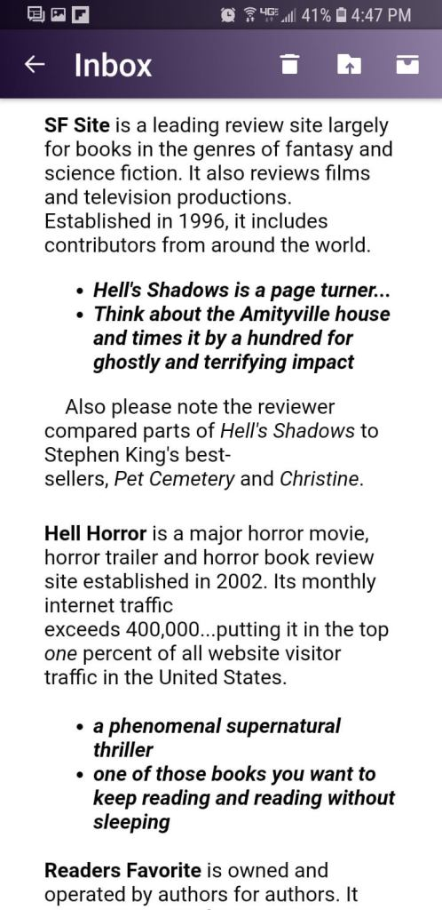 This is NOT a Review of Hell's Shadows by Dean Klein