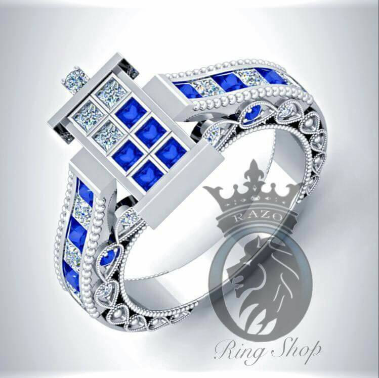 Beautiful Doctor Who 1100th Scale TARDIS Engagement Rings