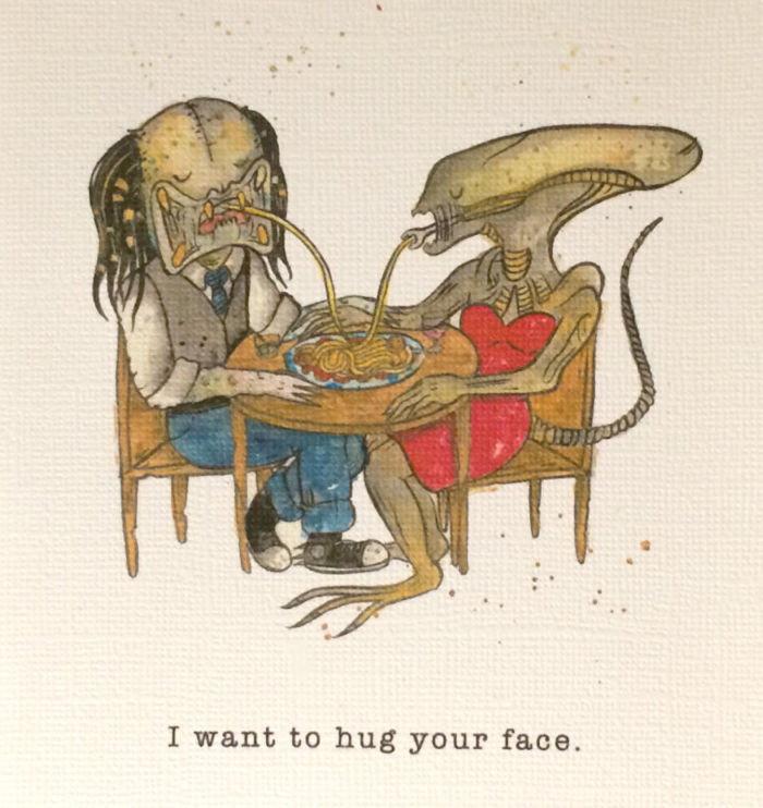 Alien And Predator Valentines Day Cards Sci Fi Design