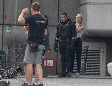 On the set of Captain America, Chadwick Boseman plays the Black Panther Featuring: Chadwick Boseman, Sebastian Stan Where: Berlin, Germany When: 12 Aug 2015