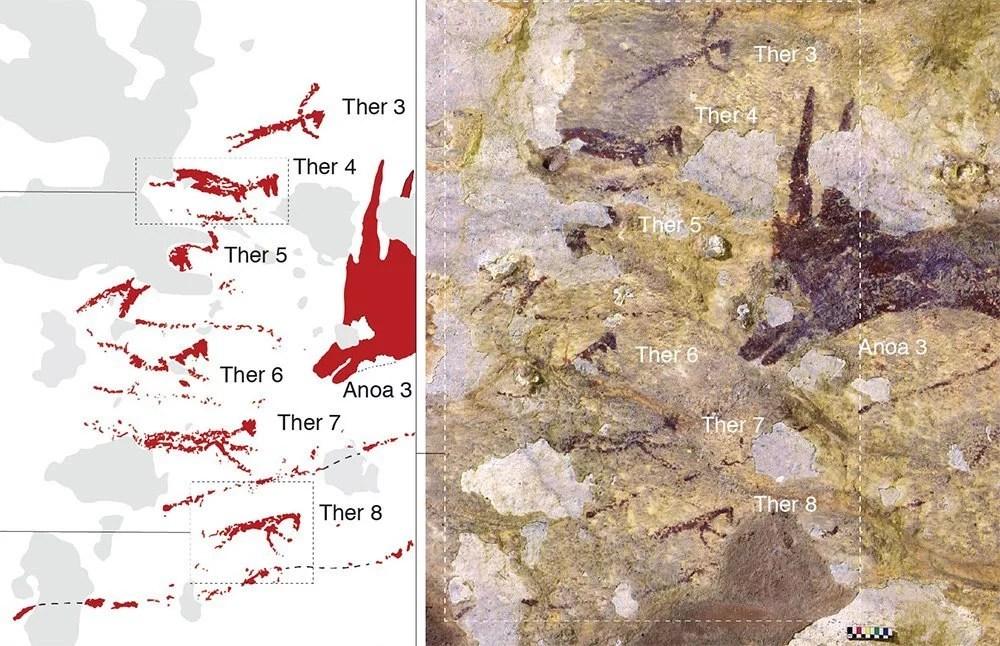 Bildquelle: https://www.scinexx.de/news/geowissen/aelteste-jagdszene-der-menschheit-entdeckt/ , © Griffith University/ Aubert et al.