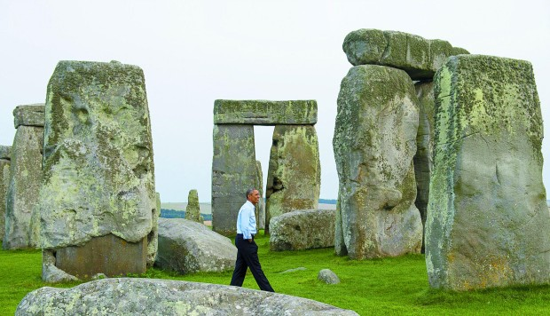 United States President Barack Obama takes an unscheduled stroll through prehistoric Stonehenge, in Wiltshire, England, in September. Photos: AFP; Corbis; Morukuru Ocean House – South Africa
