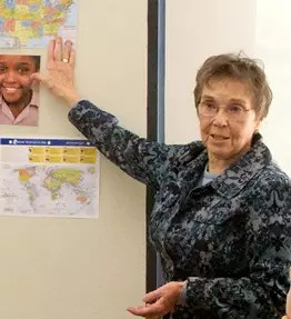 Sr. Mary Ellen teaching a trafficking awareness class.