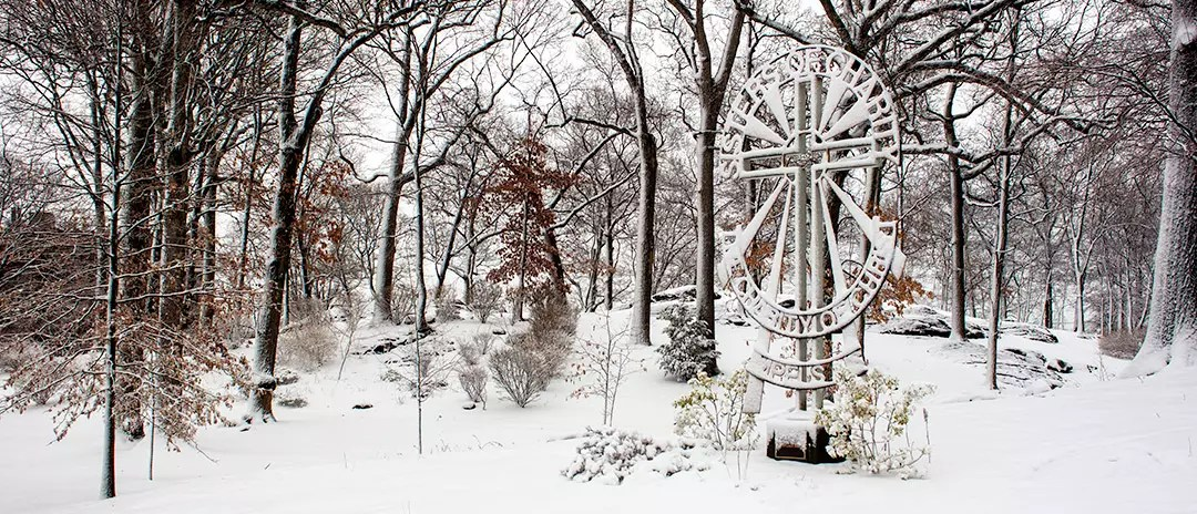 Sisters of Charity Cross by Margaret Beaudette, SC, in the snow, Mount Saint Vincent. Photo by E. Miranda