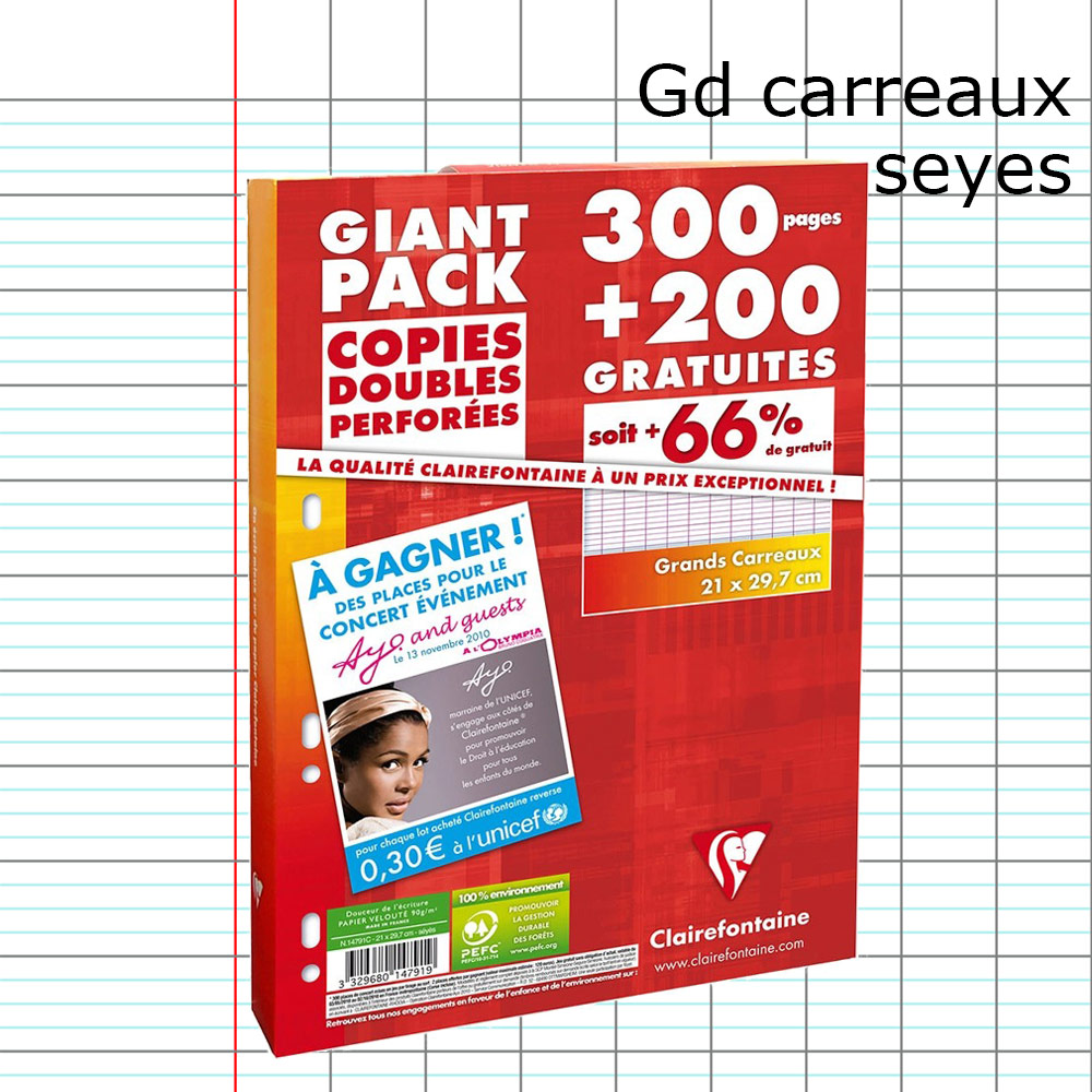 lot de 500 pages copies doubles perforees clairefontaine a4 seyes