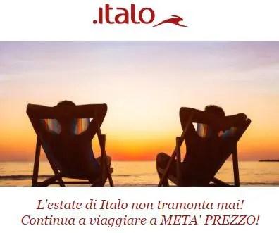 L'estate di Italo non tramonta mai: codice sconto 50%