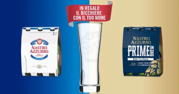 Il gusto ha il tuo nome: ricevi un bicchiere Nastro Azzurro personalizzato in omaggio!