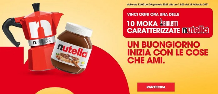 Nutella & Bialetti 2021: vinci ogni ora 10 moka Bialetti caratterizzate Nutella