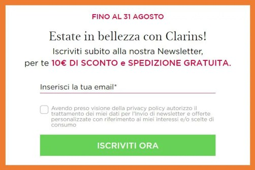 Clarins: 10€ di sconto e spedizione gratuita