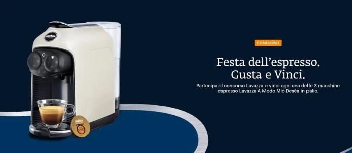 """Concorso Lavazza """"Festa dell'espresso"""": ogni giorno in palio 3 macchine A Modo Mio Deséa"""