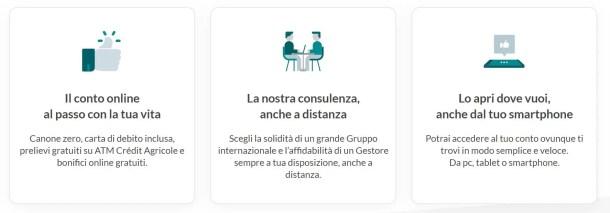 servizi forniti da Crédit Agricole richiedendo l'omaggio di 100€