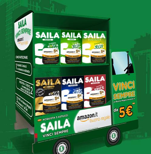 Con Saila vinci sempre Codici Amazon Acquista Saila e ricevi come premio sicuro un buono Amazon da 5€