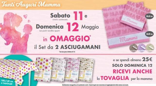 Omaggio festa della Mamma Acqua e Sapone 1 Set di asciugamani e tovaglia in omaggio per la festa della mamma da Acqua e Sapone