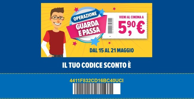 Sconto Uci Cinemas Uci Cinemas: biglietti a 5,90 euro con lOperazione Guarda e Passa!