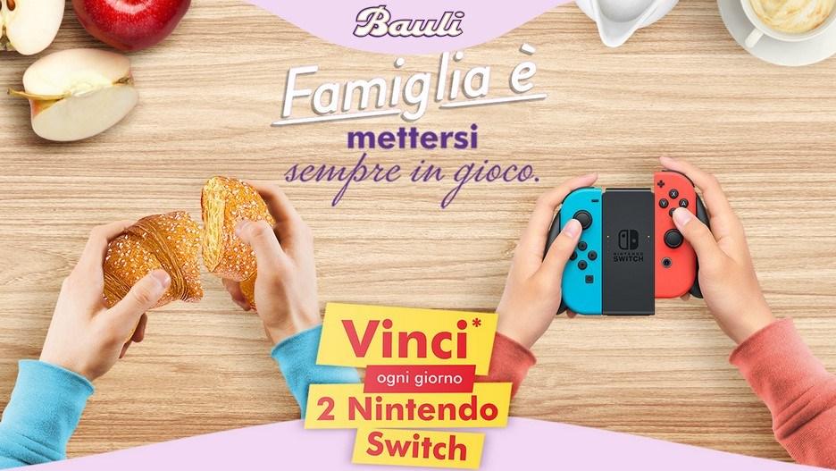 """Concorso Bauli """"Famiglia è mettersi sempre in gioco"""": vinci Nintendo Switch"""