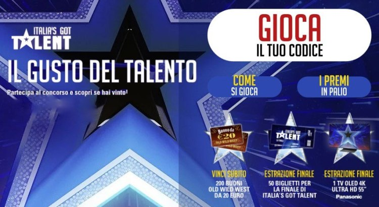 "Concorso Old Wild West: vinci voucher da 20€, TV 55"" e biglietti per la finale di Italia's Got Talent"