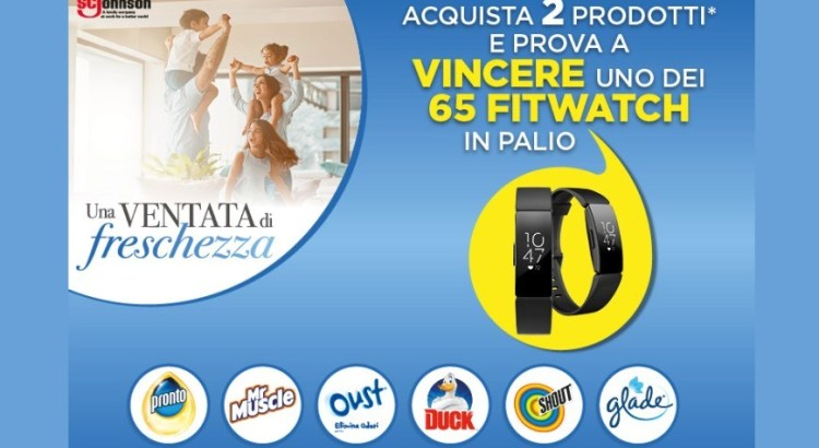 Concorso Glade Oust Duck Pronto Shout Mr Muscle vinci Fitbit Inspire HR