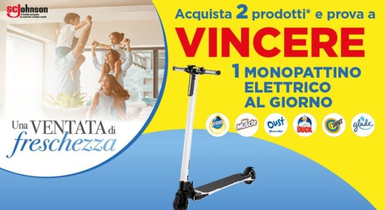 Concorso Glade Oust Duck Pronto Shout Mr Muscle vinci monopattini elettrici