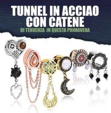 www.scontrinofelice.it crazy factory piercing in saldo fino al 70 codice sconto 10 tunnel con catena 2020 Crazy Factory: piercing in saldo fino al 70%! (+ codice sconto 10%)