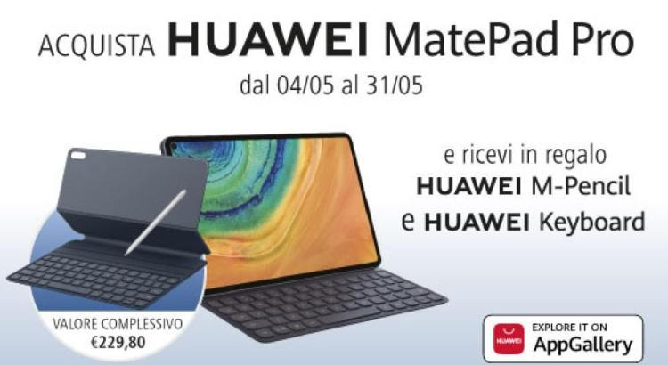 Acquista Huawei MatePad Pro e ricevi in regalo Huawei M-Pencil e Huawei Smart Magnetic Keyboard come premio certo