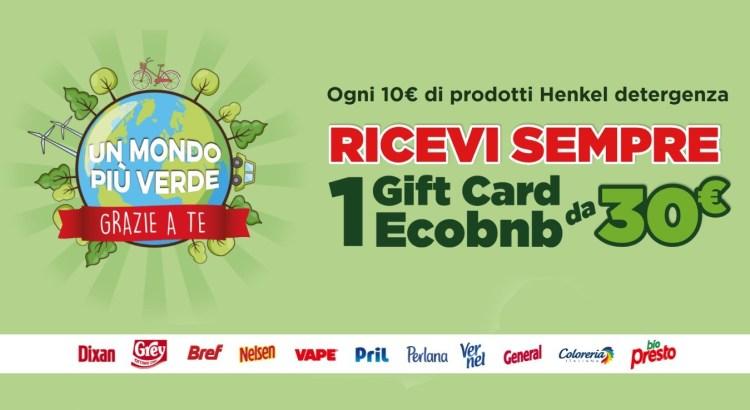 """Concorso Henkel """"Un mondo piú verde grazie a te 2020"""": ricevi come premio certo Gift Card EcoBnB"""