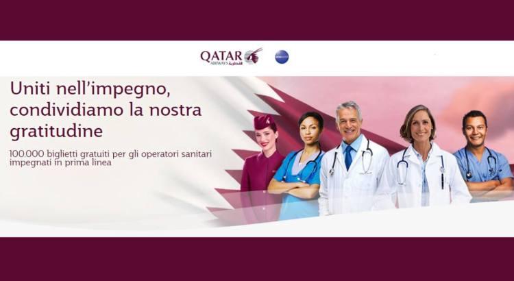 Qatar Airways biglietti aerei in regalo per gli operatori sanitari