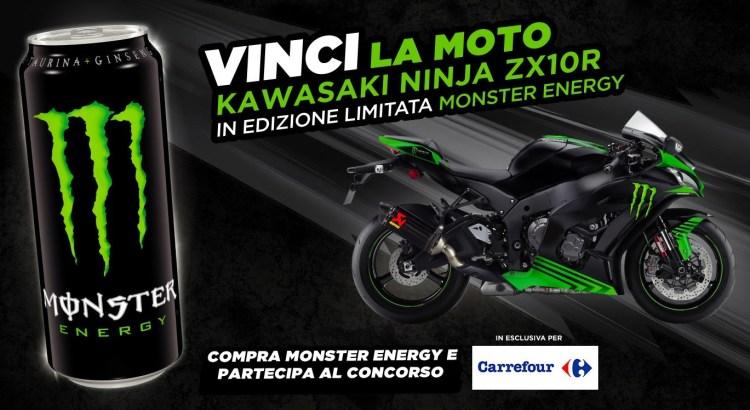 Concorso Monster Energy da Carrefour vinci moto Kawasaki Ninja