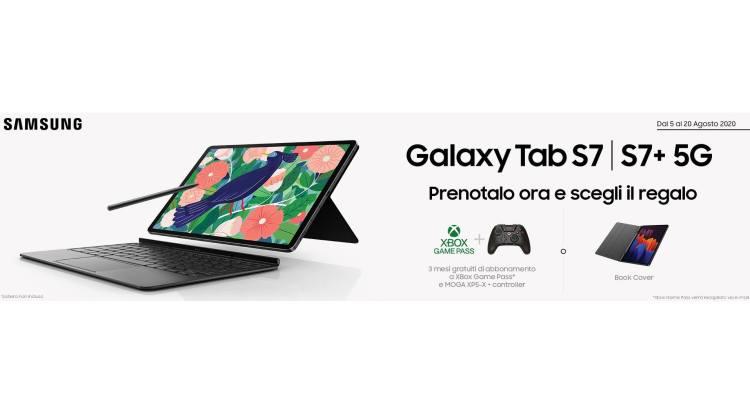 Prenota Samsung Galaxy Tab S7 5G e ricevi un Game Pack o una Book Cover come premio certo
