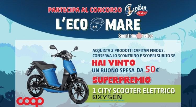 Concorso Capitan Findus L eco del mare da Coop vinci 368 buoni spesa da 50 Euro e 1 scooter Quadro Oxygen