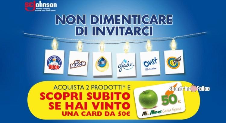 Concorso Glade, Oust, Duck, Pronto, Shout e Mr Muscle da Alì e Aliper: vinci 100 Gift Card da 50 Euro
