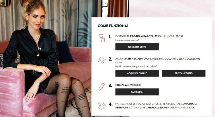 Concorso Calzedonia vinci incontro Chiara Ferragni e gift Card