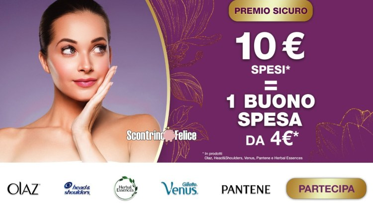 Acquista Olaz, Head e Shoulders, Venus, Pantene e Herbal Essences e ricevi un buono di 4 euro