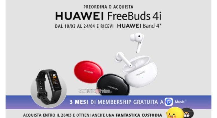 Acquista HUAWEI FreeBuds 4i e richiedi in regalo il fitness tracker Huawei Band 4